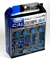 Project Kics Heptagon Calibur 24 Lug Nuts 12x1.5 Blue Titanium